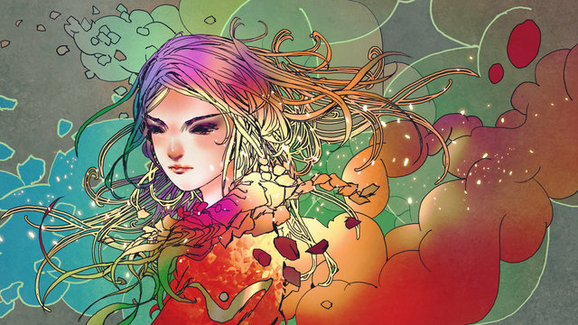 portrait of the beautiful girl in colorful smoke with anime style, illustration painting