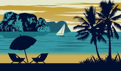 Nature scene of sea in summer,umbrella and cot are on beach,vintage color design