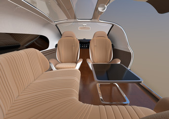 Self driving electric car interior with lounge chair and rear facing seats. 3D rendering image.
