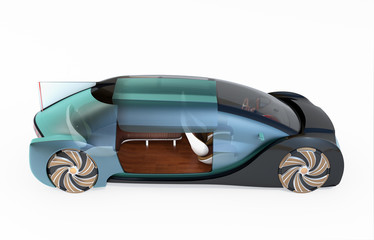 Side view of transparent self driving electric car isolated on white background. 3D rendering image.