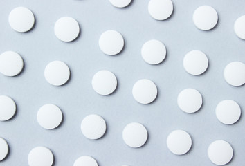Fotobehang Macarons Background of group white pills. Medical concept. Top view