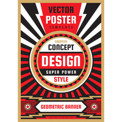 Vertical art poster template in heavy power style. National patriotism freedom vertical banner. Graphic design layout. Music concert rock concept vector illustration. Geometric abstract background.