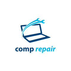 computer, laptop repair service logo vector