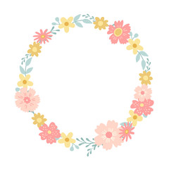 A wreath of decorative flowers.