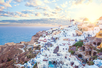 Santorini greece view. Amazing landscape with white houses. Island lovers