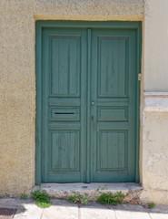 a simple green door, Athens Greece, Anafiotika neighborhood