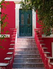 red green house netrance, Athens Greece, Anafiotika neighborhood