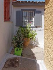 scenic alley in Athens Greece, Anafiotika neighborhood just under acropolis