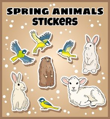 Set of spring animals stickers. Label doodles collection