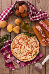 Cheese and bacon tart.