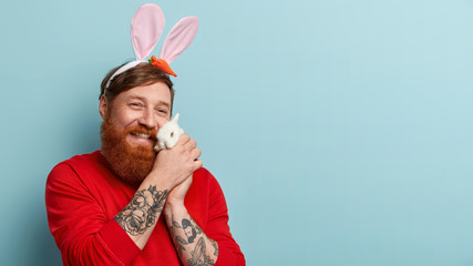 Caring cheerful glad ginger man holds white bunny near cheeks, enjoys soft fur, wears bunny ears, demonstrates love to animals, poses over blue background with copy space on right for your text