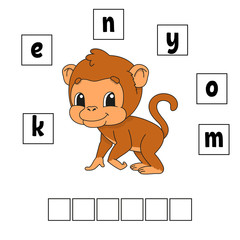 Words puzzle. Education developing worksheet. Game for kids. Activity page. Puzzle for children. Riddle for preschool. Simple flat isolated vector illustration in cute cartoon style.