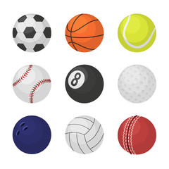 Ball collection. Sports equipment game balls football basketball tennis cricket billiards bowling volleyball symbols