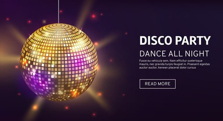Obraz Disco banner. Mirrorball party disco ball invitation card celebration fashion partying poster template dance club - fototapety do salonu