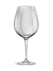 Empty wineglass. clean drinking crystal glass kitchen ware for wine liquor alcohol champagne vector realistic isolated