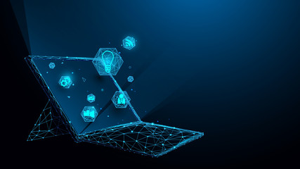 Laptop with technology icons from lines, triangles and particle style design. Illustration vector Wall mural