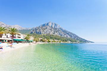 Gradac, Dalmatia, Croatia - Overview across the beautiful beach of Gradac