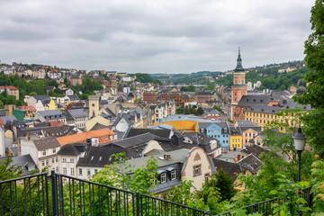 Stadtansicht der Stadtmitte von Greiz, Thüringen, Deutschland