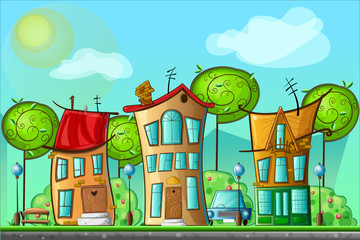 illustration of landscape cartoon village with bright houses and trees . Vector illustration for design background. Panorama.