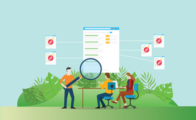 backlinks seo website development to increase traffic visitor - vector illustration