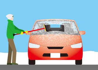 自動車のフロントガラスについた霜をスクイージーで除去する