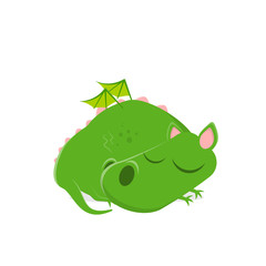 funny vector illustration of a sleeping green cartoon dragon
