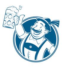 bavarian cartoon man with beer in a badge