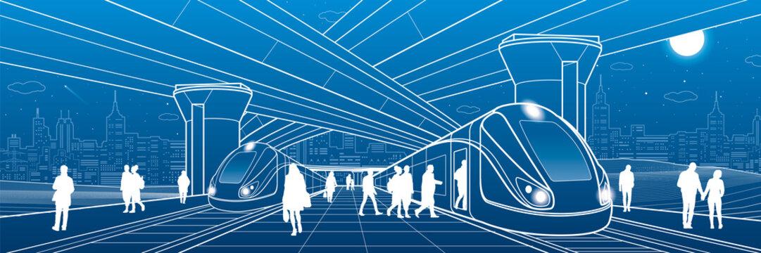Railway station under the overpass. Passengers board the train. Urban life scene. City Transport infrastructure. Vector design outline illustration