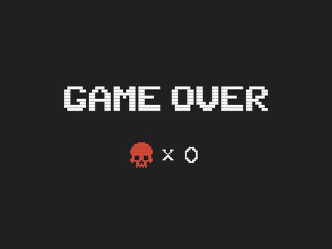 Game over text and red skull vector illustration. Retro video game design element on dark background