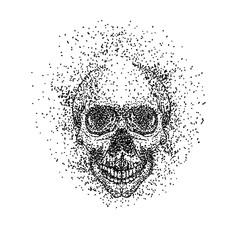skull head particle vector illustration