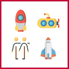 4 mission icon. Vector illustration mission set. rocket and submarine icons for mission works
