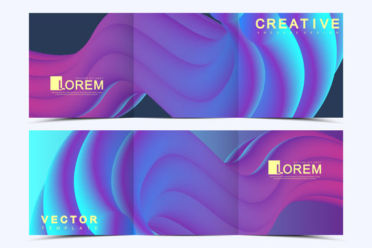 Modern vector template for trifold square brochure, flyer, cover, report, catalog, magazine. Abstract fluid 3d shapes vector trendy liquid colors backgrounds. Colored fluid graphic composition