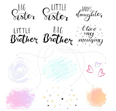 Little big sister, brother. Lettering for babies clothes