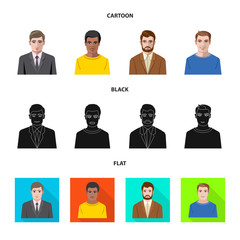 Isolated object of hairstyle and profession  symbol. Collection of hairstyle and character  stock symbol for web.