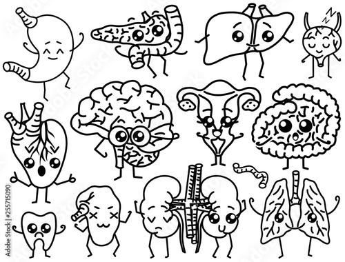 Cute Organs Happy Human Set Of Smiling Characters Vector Pins