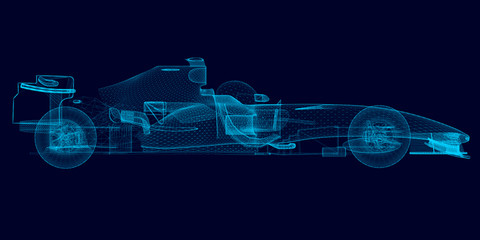 Fotobehang F1 Wireframe of a polygonal racing car of blue lines on a dark background. 3D. Side view. Vector illustration