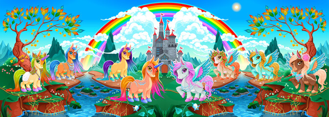 Foto auf AluDibond Kinderzimmer Groups of unicorns and pegasus in a fantasy landscape
