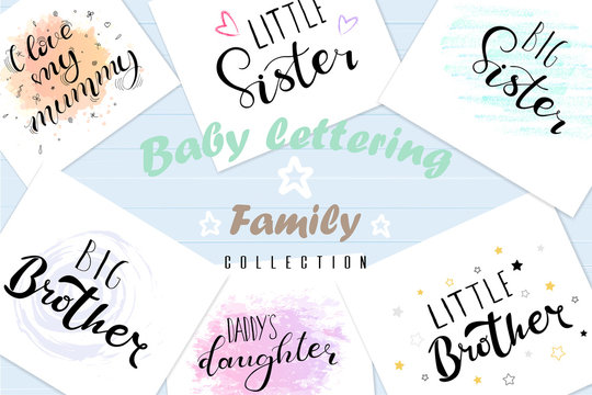 Set lettering quotes for design of babies clothes