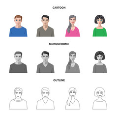 Vector design of hairstyle and profession  sign. Collection of hairstyle and character  stock symbol for web.