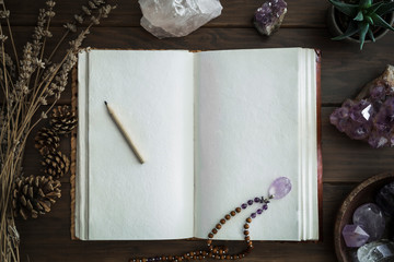 Open Notebook Surrounded by Crystals Plants and Foliage