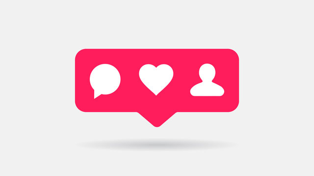 Social Media Pop Up Icons Comment, Like, Follower. Flat Vector Icons Set.