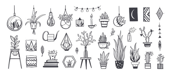 Home decor and House plants vector hand drawn set. Home decorations and interior design elements.Isolated boho and scandinavian cartoon sketches Wall mural
