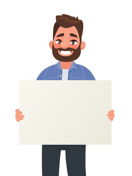 Smiling man is holding a blank poster. Placard for advertising. Vector illustration