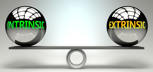 Intrinsic and extrinsic balance, harmony and relation pictured as two equal balls with  text words showing abstract idea and symmetry between two symbols and real life concepts, 3d illustration