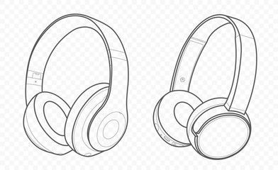 Drawn with lines vector isolated pair of wireless wifi headphones and earphones on transparent background with speaker for listening music and talking. Gadget for phones and smartphones