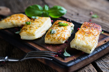 Grilled halloumi cheese Cyprus