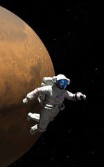 Planet Mars und Astronaut