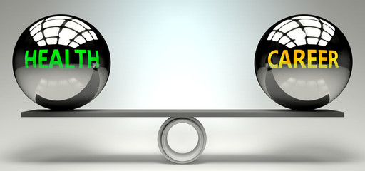 Health and career balance, harmony and relation pictured as two equal balls with  text words showing abstract idea and symmetry between two symbols and real life concepts, 3d illustration