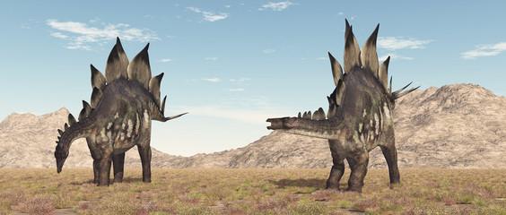 Dinosaurier Stegosaurus in einer Landschaft