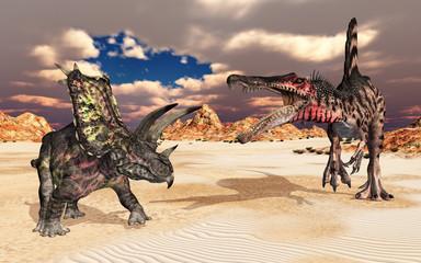 Die Dinosaurier Pentaceratops und Spinosaurus in einer Landschaft